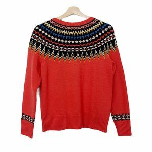 J Crew Wool Blend Fair Isle Red Ski Sweater S
